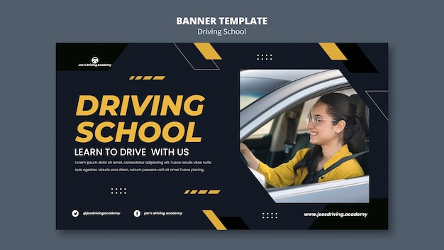 Modelo de banner horizontal para autoescola com motorista do sexo feminino