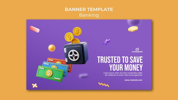 Modelo de banner horizontal para banco e finanças online