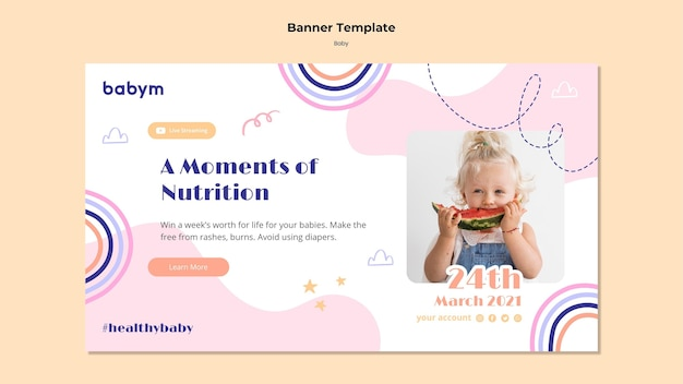 Modelo de banner horizontal para bebê recém-nascido