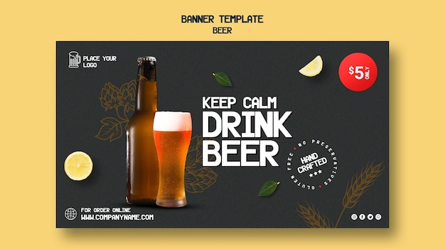 Modelo de banner horizontal para beber cerveja