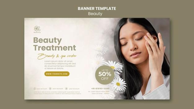 Modelo de banner horizontal para beleza e spa com flores de mulher e camomila