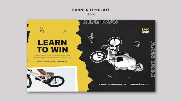 Modelo de banner horizontal para bmx biking com homem e bicicleta