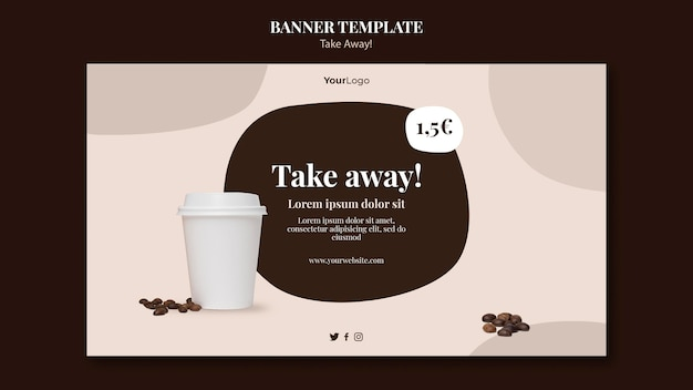 Modelo de banner horizontal para café para viagem