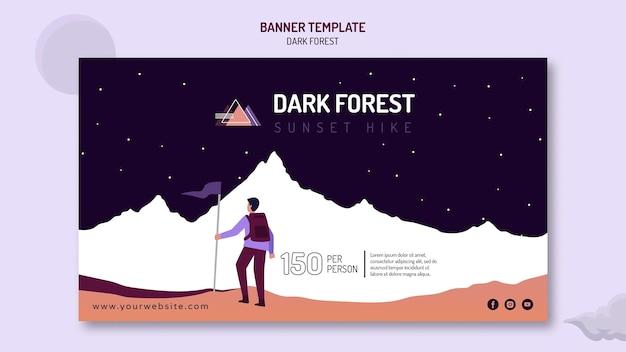 Modelo de banner horizontal para caminhadas em floresta escura