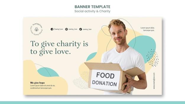 Modelo de banner horizontal para caridade e doação