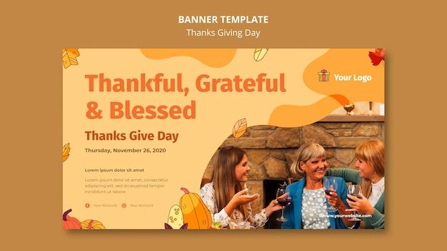 Modelo de banner horizontal para celebração de ação de graças