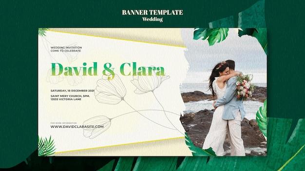 Modelo de banner horizontal para celebração de casamento