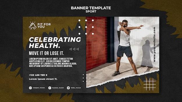 Modelo de banner horizontal para celebrar a saúde