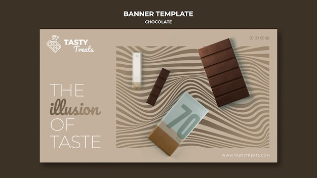 Modelo de banner horizontal para chocolate