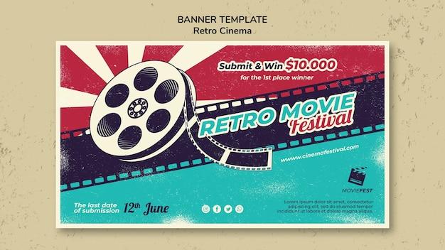 Modelo de banner horizontal para cinema retrô