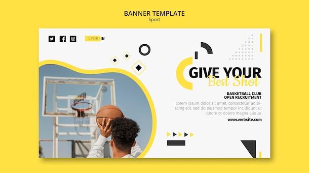 Modelo de banner horizontal para clube de basquete