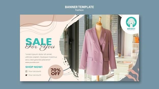 Modelo de banner horizontal para coleção de moda
