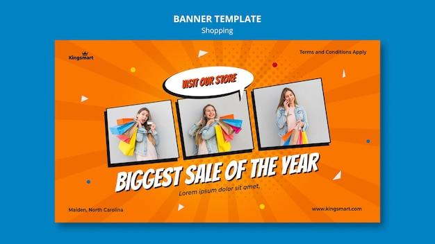 Modelo de banner horizontal para compras com mulher segurando sacolas de compras