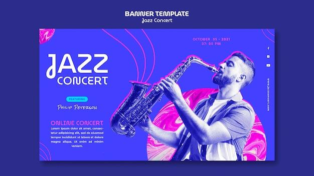 Modelo de banner horizontal para concerto de jazz