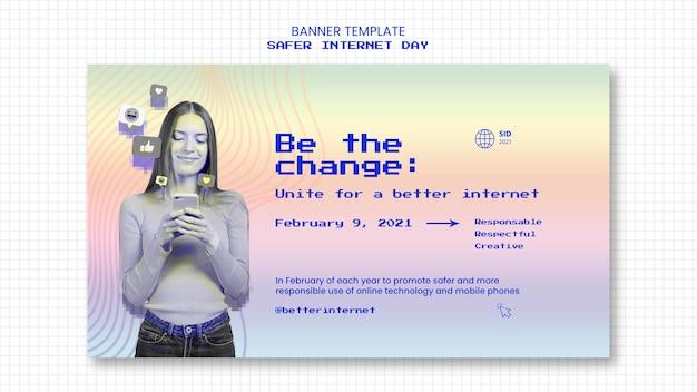 Modelo de banner horizontal para conscientização de dias mais seguros na internet