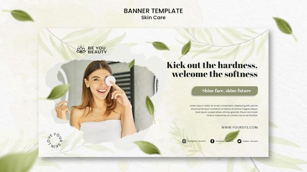 Modelo de banner horizontal para cuidados com a pele