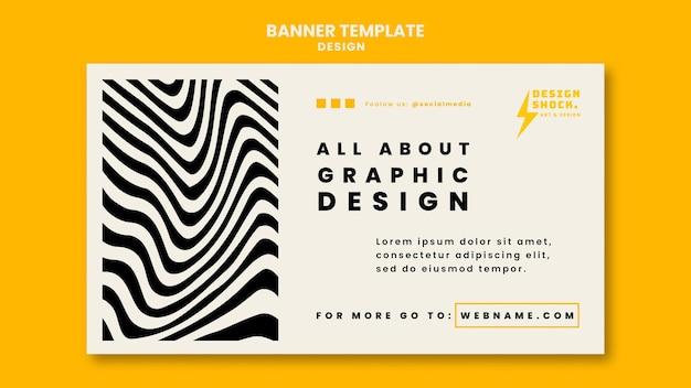 Modelo de banner horizontal para cursos de design gráfico