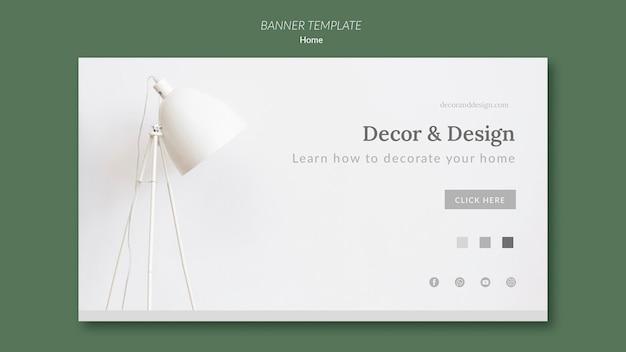 Modelo de banner horizontal para decoração e design de casa