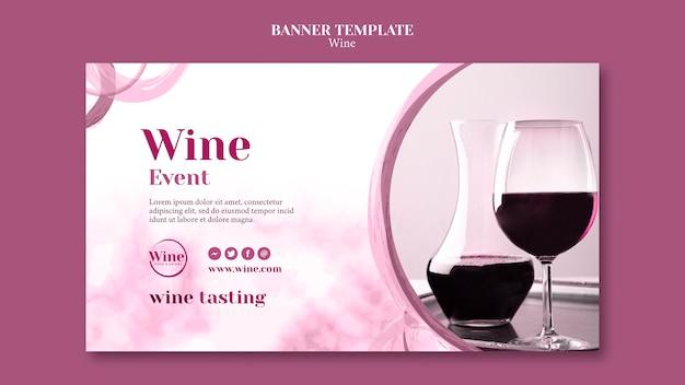 Modelo de banner horizontal para degustação de vinhos