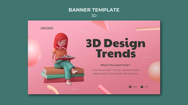 Modelo de banner horizontal para design 3d com mulher