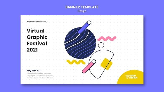 Modelo de banner horizontal para design gráfico