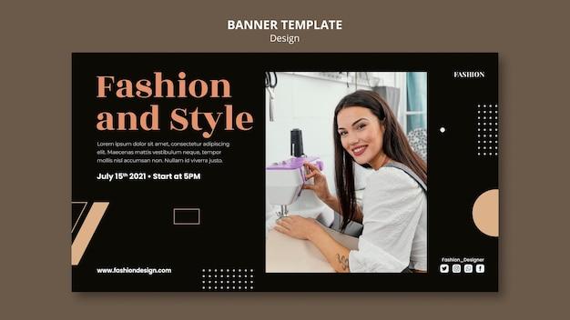 Modelo de banner horizontal para designer de moda