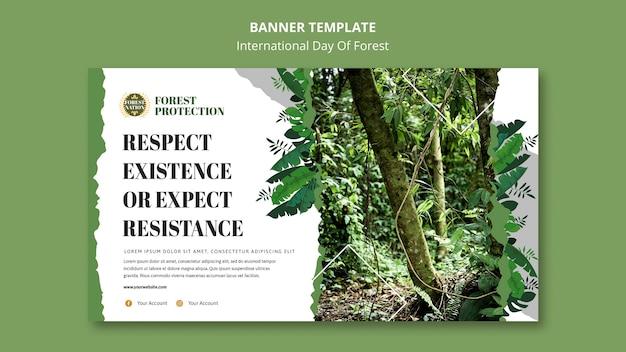 Modelo de banner horizontal para dia de floresta com a natureza