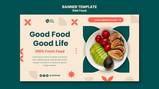 Modelo de banner horizontal para dieta alimentar