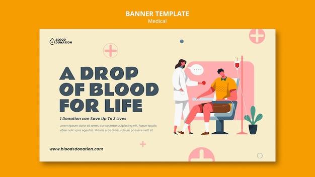 Modelo de banner horizontal para doação de sangue