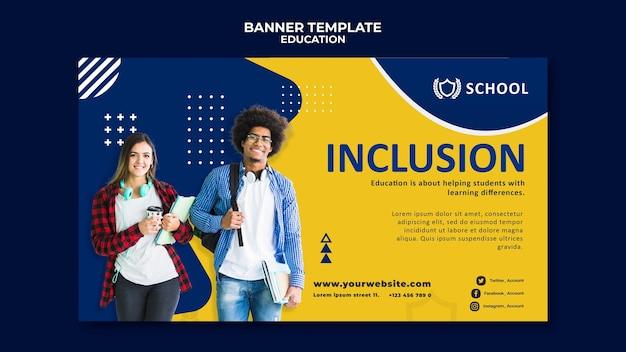 Modelo de banner horizontal para educação Psd grátis