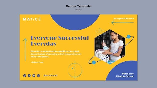 Modelo de banner horizontal para educação