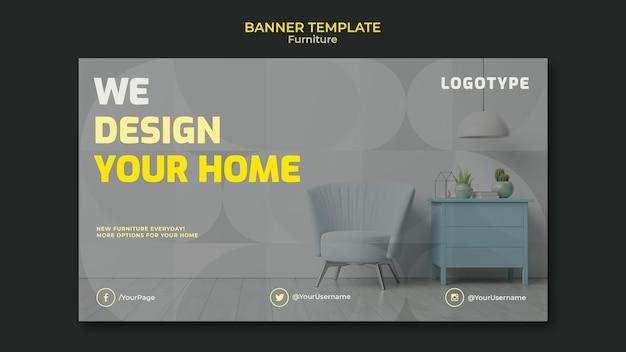 Modelo de banner horizontal para empresa de design de interiores