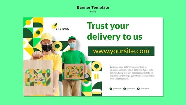 Modelo de banner horizontal para empresa de entrega