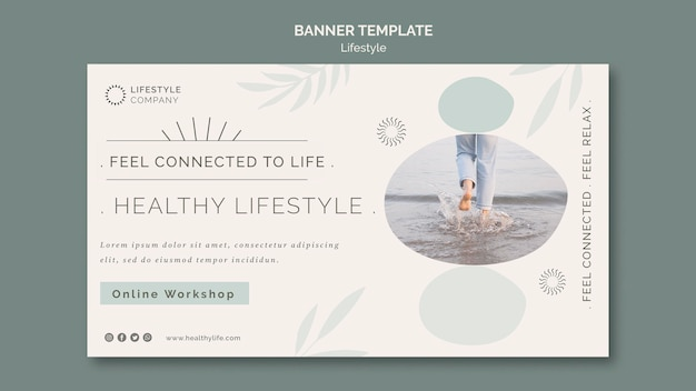 Modelo de banner horizontal para empresa de estilo de vida saudável