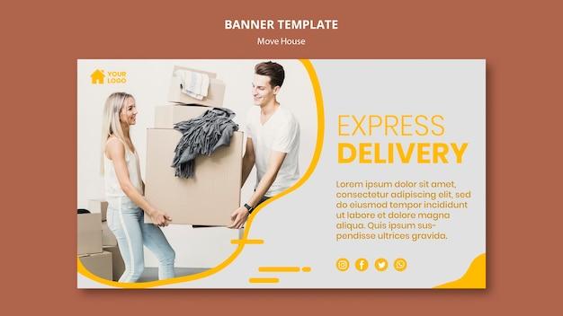 Modelo de banner horizontal para empresa de mudança de casa