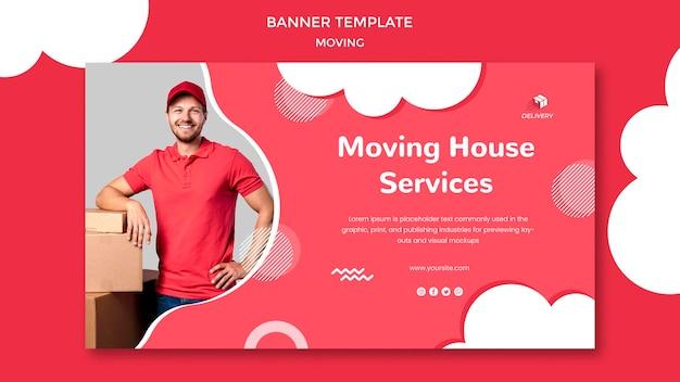 Modelo de banner horizontal para empresa de mudanças