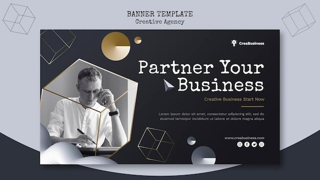Modelo de banner horizontal para empresa parceira de negócios