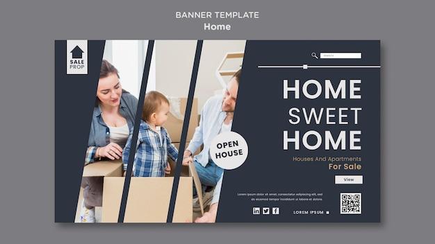 Modelo de banner horizontal para encontrar a casa perfeita
