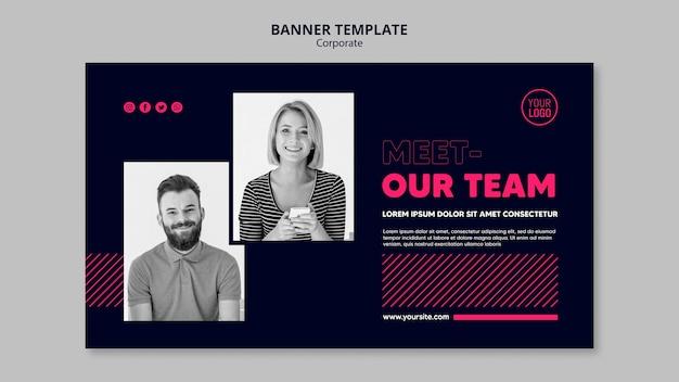 Modelo de banner horizontal para equipe de negócios