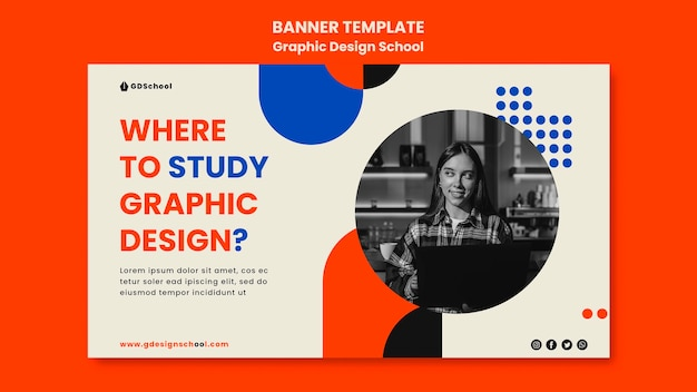 Modelo de banner horizontal para escola de design gráfico