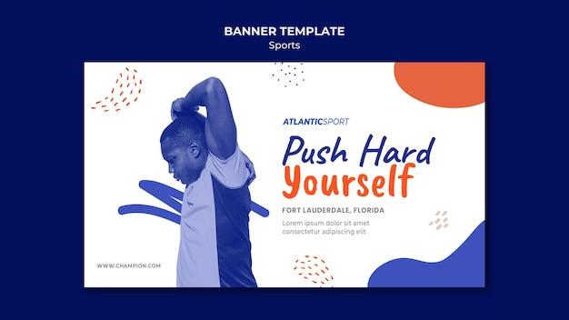 Modelo de banner horizontal para esportes com homem