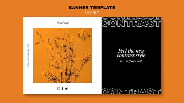 Modelo de banner horizontal para estilo contrastante