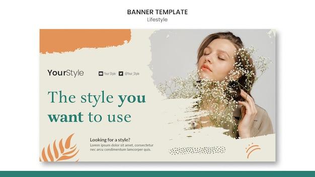Modelo de banner horizontal para estilo de vida pessoal
