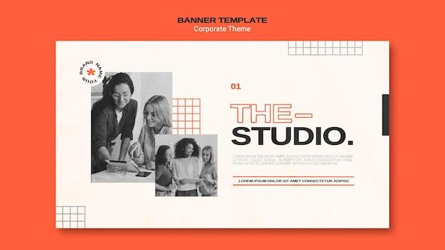 Modelo de banner horizontal para estúdio corporativo