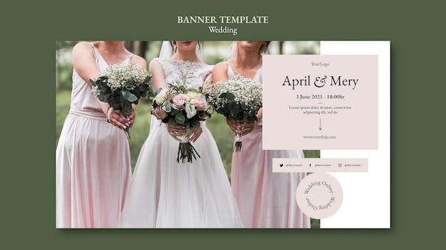 Modelo de banner horizontal para eventos de casamento
