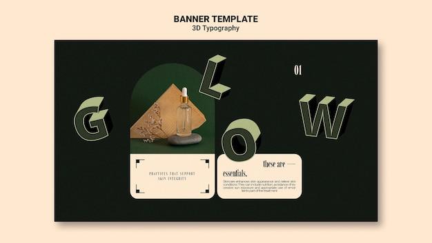 Modelo de banner horizontal para exibição de frasco de óleo essencial com letras tridimensionais