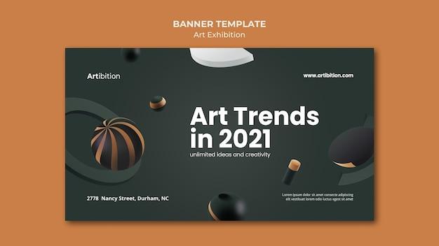 Modelo de banner horizontal para exposição de arte com formas geométricas