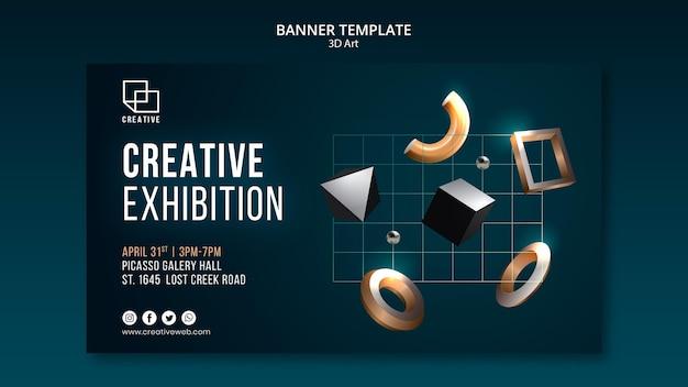 Modelo de banner horizontal para exposição de arte com formas tridimensionais criativas