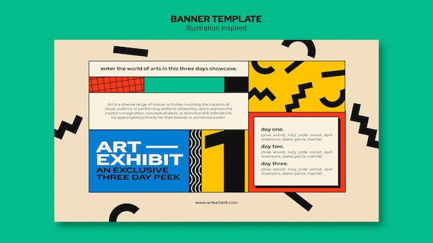 Modelo de banner horizontal para exposição de arte