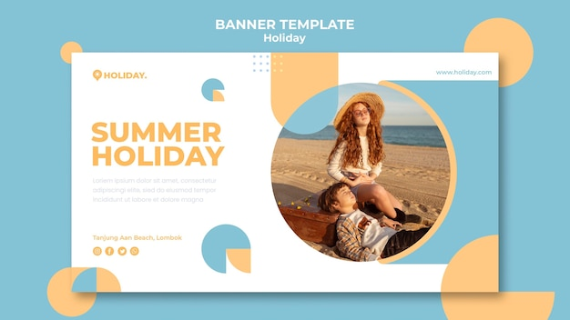 Modelo de banner horizontal para férias de verão